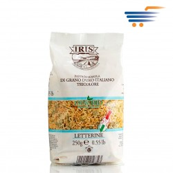IRIS DURUM WHEAT PASTA TRICOLOR 250GR (LETTERS)