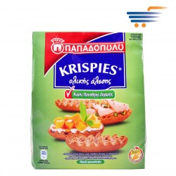 PAPADOPOULOU KRISPIES WHOLEGRAIN RUSKS NO ADDED SUGAR WITH SWEETENERS 200G