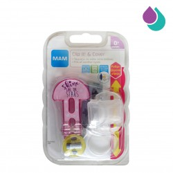 MAM SOOTHER CLIP AND COVER  0+ MONTHS  (PINK - SHINE LIKE THE STARS)