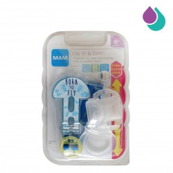 MAM SOOTHER CLIP AND COVER  0+ MONTHS  (BLUE - BORN TO FLY)