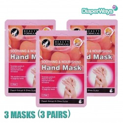 BEAUTY FORMULAS SOOTHING AND NOURISHING HAND MASK X3 MASKS (3 PAIRS)