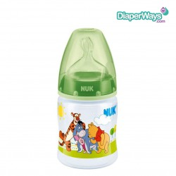 NUK DISNEY WINNIE THE POOH FIRST CHOICE BABY BOTTLE (PP) WITH SILICONE TEAT 150ML 0-6 MONTHS (GREEN)