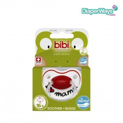 BIBI HAPPINESS SOOTHER 16+ MONTHS WITH DENTAL SILICONE TEAT (I LOVE MAMA)