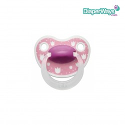 BIBI HAPPINESS SOOTHER 0-6 MONTHS WITH DENTAL SILICONE TEAT (PINK TULIPS)