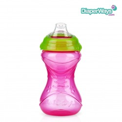 NUBY EASY GRIP CUP NO SPILL 300ML (GREEN AND PINK)