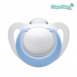 NUK GENIUS COLOR SILICONE SOOTHER 6-18 MONTHS (WHITE AND BABY BLUE)