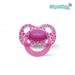 BIBI HAPPINESS SOOTHER 0-6 MONTHS WITH NATURAL SILICONE TEAT (PINK JUNGLE)