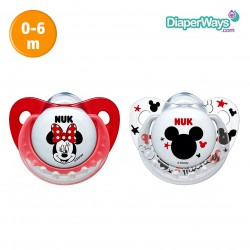 NUK TRENDLINE SILICONE SOOTHER MICKEY 0-6 MONTHS DUO-PACK (RED)