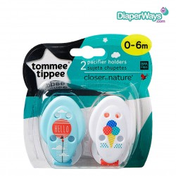 TOMMEE TIPPEE SOOTHER HOLDERS 0+ MONTHS -  2 PACK (HELLO SUMMER)