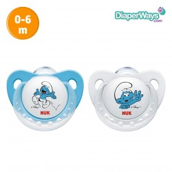 NUK TRENDLINE SILICONE SOOTHER SMURFS  0-6  MONTHS DUO-PACK (BLUE)