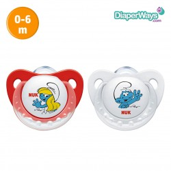 NUK TRENDLINE SILICONE SOOTHER SMURFS  0-6  MONTHS DUO-PACK (RED)