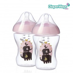 TOMMEE TIPPEE ULTRA FEEDING BOTTLE 260ML  0+ MONTHS  DUO PACK (PINK ELEPHANTS)