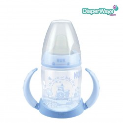 NUK FIRST CHOICE BABY ROSE AND BLUE 150ML LEARNER BOTTLE 6+ MONTHS (BLUE)