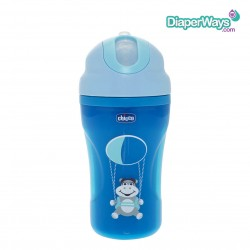 CHICCO INSULATED CUP WITH STRAW  266ML  18+ MONTHS (BLUE HIPPO)