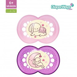MAM NIGHT SOOTHERS 6+ MONTHS (PINK RABBIT)