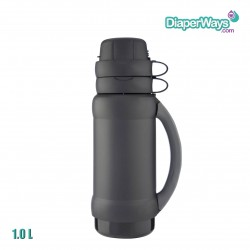 GENUINE THERMOS BRAND VACUUM INSULATED GLASS DOUBLE WALL BEVERAGE BOTTLE 1.0L (BLACK)