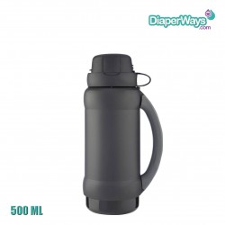GENUINE THERMOS BRAND VACUUM INSULATED GLASS DOUBLE WALL BEVERAGE BOTTLE 500ML (BLACK)