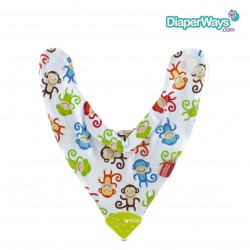 NUBY BANDANA BIB WITH TEETHER 3+MONTHS (BUTTERFLIES & FLOWERS)