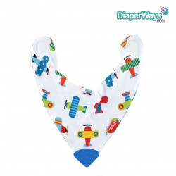 NUBY BANDANA BIB WITH TEETHER 3+MONTHS (AEROPLANES)