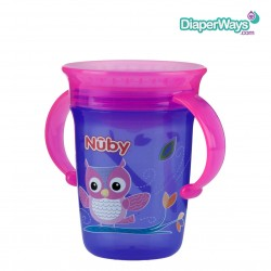 NUBY 360° WONDER CUP 240ML 6+ MONTHS (PINK AND PURPLE BIRD)
