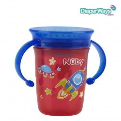 NUBY 360° WONDER CUP 240ML 6+ MONTHS (BLUE AND RED SPACE)