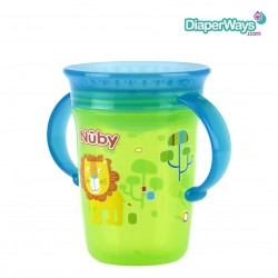 NUBY 360° WONDER CUP 240ML 6+ MONTHS (TURQUOISE AND GREEN LION)