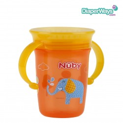 NUBY 360° WONDER CUP 240ML 6+ MONTHS (YELLOW AND ORANGE ELEPHANT)