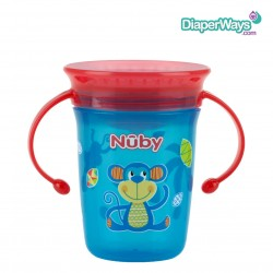 NUBY 360° WONDER CUP 240ML 6+ MONTHS (RED AND TURQUOISE MONKEY)