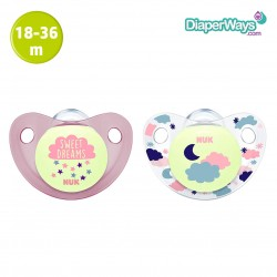 NUK NIGHT AND DAY SILICONE SOOTHER 18-36 MONTHS (PINK SWEET DREAMS)