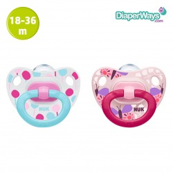 NUK HAPPY DAYS SILICONE SOOTHERS 18-36 MONTHS (PINK BUTTERFLIES AND LOLLIPOPS) 2-PACK