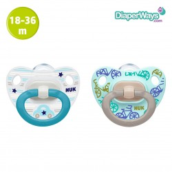 NUK HAPPY DAYS SILICONE SOOTHERS 18-36 MONTHS (BLUE BIKES AND CARS) 2-PACK