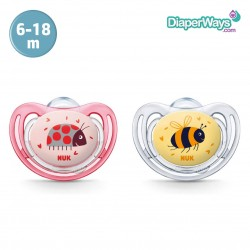 NUK FREESTYLE SILICONE SOOTHERS 6-18 MONTHS (RED LADYBIRD AND YELLOW BEE) 2-PACK