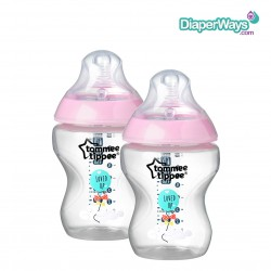 TOMMEE TIPPEE EASI-VENT FEEDING BOTTLE 0+ MONTHS 260ML - 2 PACK (PINK)