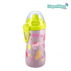 NUK FIRST CHOICE JUNIOR CUP WITH PUSH-PULL SPOUT  3+ YEARS 300ML (GREEN AND PINK)
