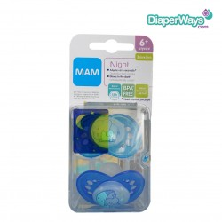 MAM NIGHT SOOTHERS 6+ MONTHS (BLUE ELEPHANT)