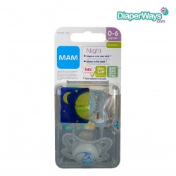 MAM NIGHT SILICONE SOOTHERS 0-6 MONTHS (BLUE)