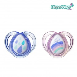 TOMMEE TIPPEE ANY TIME SOOTHERS 0-6 MONTHS (PURPLE DROPS-PINK RAINBOW)