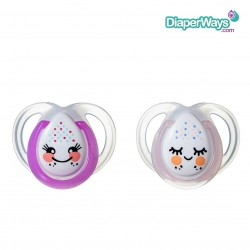 TOMMEE TIPPEE NIGHT TIME SOOTHERS 0-6 MONTHS (LITTLE PINK FACES)