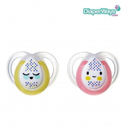 TOMMEE TIPPEE NIGHT TIME SOOTHERS 0-6 MONTHS (PINK AND YELLOW FACES)