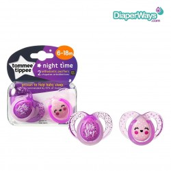 TOMMEE TIPPEE NIGHT TIME SOOTHERS 6-18 MONTHS (PINK LITTLE STAR)