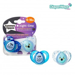 TOMMEE TIPPEE NIGHT TIME SOOTHERS 6-18 MONTHS (BLUE I LOVE SLEEP)