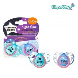 TOMMEE TIPPEE NIGHT TIME SOOTHERS 6-18 MONTHS (BLUE AND GREEN I LOVE SLEEP)