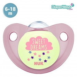 NUK NIGHT AND DAY SILICONE SOOTHER 6-18 MONTHS (PINK)