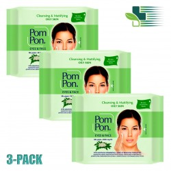 POM PON EYES AND FACE CLEANSING WIPES OILY SKIN 2X20 WIPES