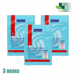 BEAUTY FORMULAS RADIATE & GLOW BRIGHTENING FACIAL MASK X 3 MASKS