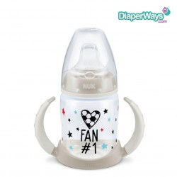 NUK BALL FAN FIRST CHOICE LEARNER BOTTLE WITH SPOUT 150ML 6-18 MONTHS (GREY)