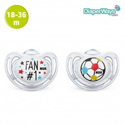 NUK FREESTYLE SILICONE SOOTHERS 18-36 MONTHS (FOOTBALL FAN) 2-PACK