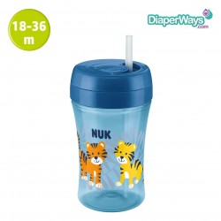 NUK EASY LEARNING CUP FUN 300ML WITH STRAW (BLUE)