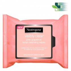 NEUTROGENA VISIBLY CLEAR  PINK GRAPEFRUIT OIL-FREE CLEANSING WIPES  (25 WIPES)
