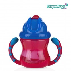 NUBY FLIP N' SIP CUP WITH STRAW  12+ MONTHS  240ML(BLUE AND RED)